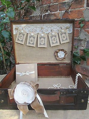 vintage suitcases for weddings | Wooden Suitcase Vintage Style Card Bunting Wedding Card Holder Post ...