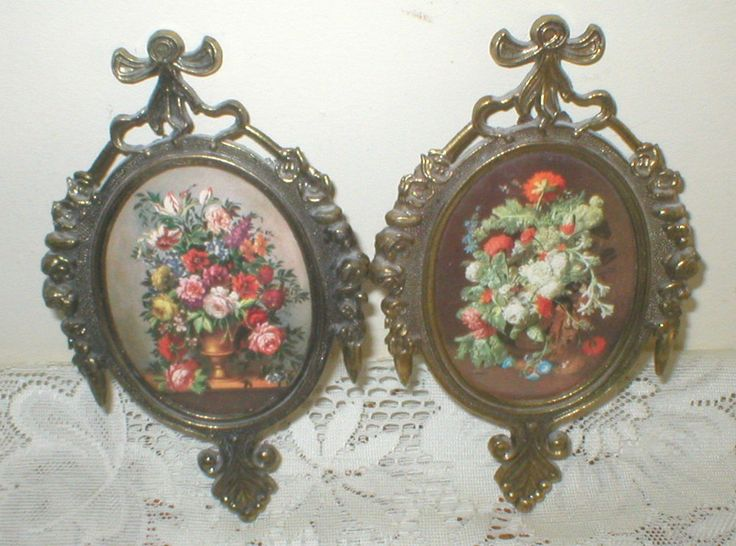 Italian Metal Oval Picture Frames Bow Bubble Glass Front Rose Prints Vintage #Baroque
