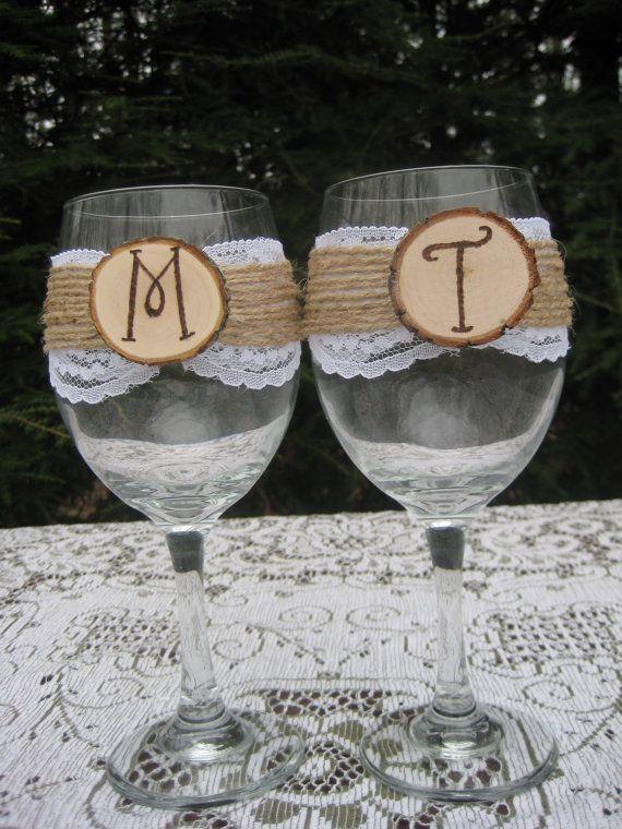 Rustic Wine Glasses Log Slice Wine Glasses Mr by YourDivineAffair