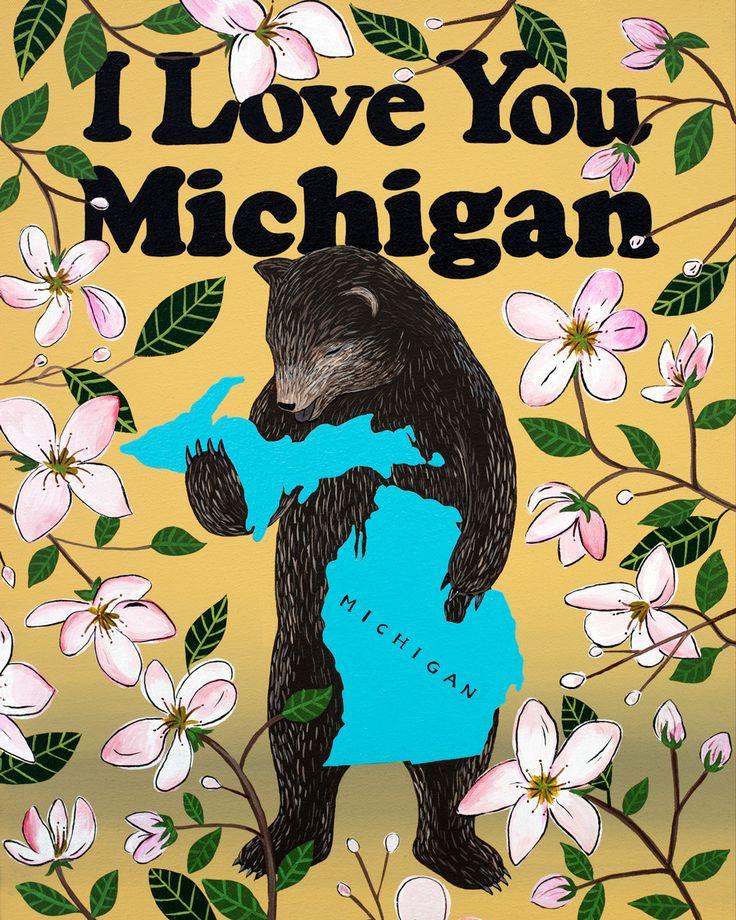 I Love You Michigan Print 41 best