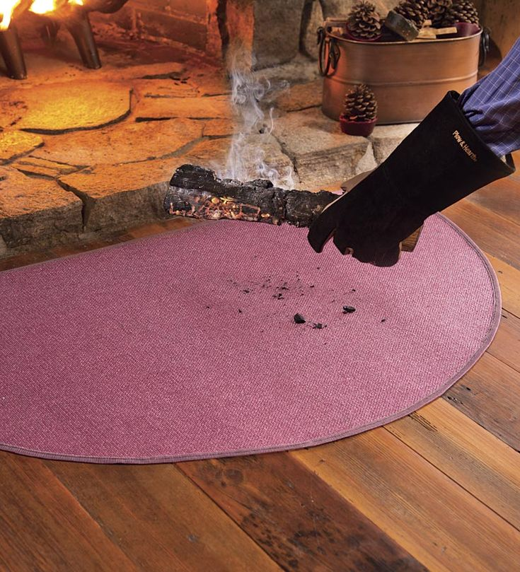 Flame Resistant Fibergl Half Round Hearth Rugs Plow And