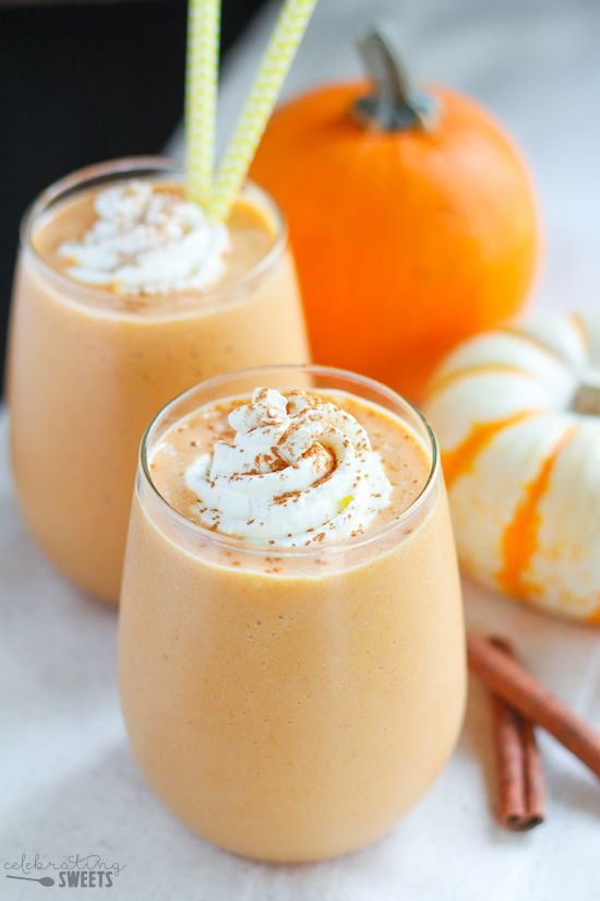Healthy Pumpkin Smoothie - A protein packed smoothie that tastes like pumpkin pie! Flavored with pumpkin puree, cinnamon, and maple syrup.