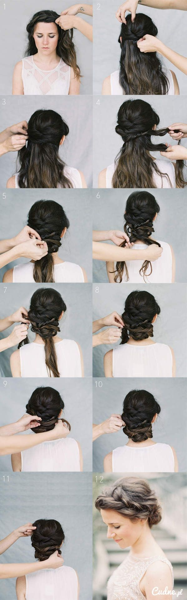 Piękne upięcie na długie włosy