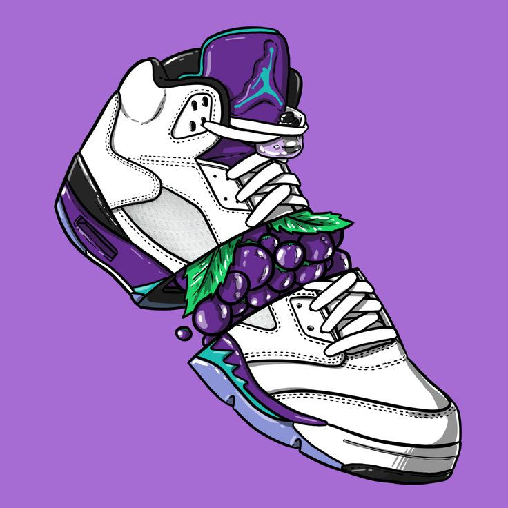 "Sneaker Art Jordan V ""Grape"" Sneakers wallpaper"