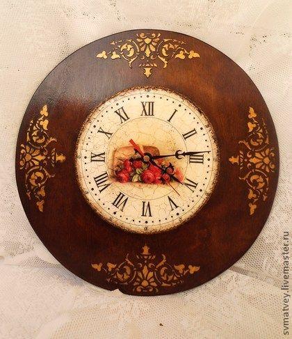 """Часы интерьерные """"Корзина роз"""" скидка 20 % - коричневый,часы настенные"""