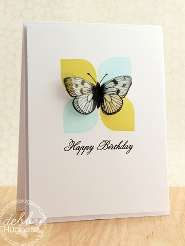 Use plain paper/cardstock with corner rounder and Kaszazz/Hero Arts butterfly stamp