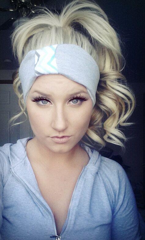Teal Grey Chevron Sweat Headband Cozy by TheWoodenAntler on Etsy, $15.00 Blonde hair curls long hair makeup eyeshadow