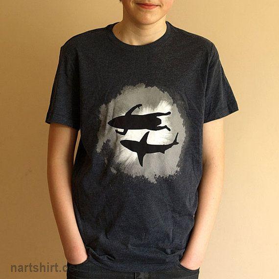 SURFER and SHARK shirt | Shark shirts | Surfer shirts | Shark | Sea | Ocean | Friends shirt | Men's shirts | Apparel | Gift for men | black