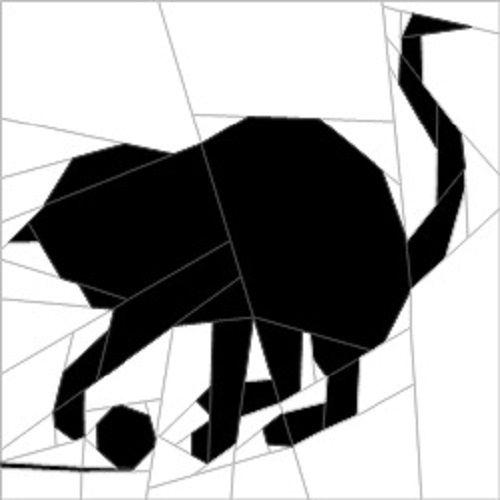 "Silhouette Cat #4 10""(26 cm) Paper Pieced patterns quiltartdesigns.blogspot.com"