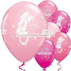 Minnie Maus - Ballons mit weißem Bedruck aus Latex 28cm