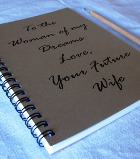 """LGBT Lesbian Valentines Day Gifts for Her: """"To The Woman of My Dreams. Love, Your Future Wife"""" Journal by Journaling Jane @ Etsy"""