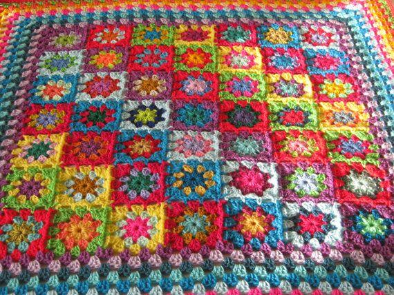 SALE 20% OFF RAINBOW Kaleidoscope Blanket Granny by Thesunroomuk