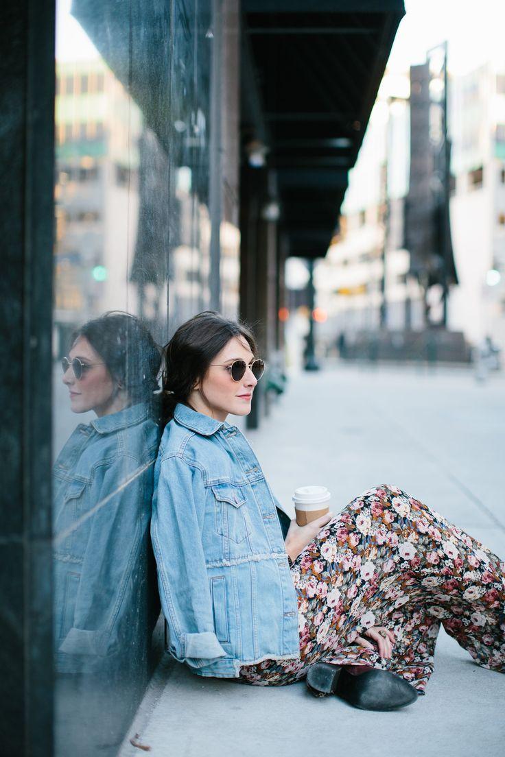 topshop denim jacket and florals  | One Fine Soul