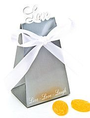 """Silver """"Love"""" Favor Box With White Ribbons (Set... – USD $ 2.99"""