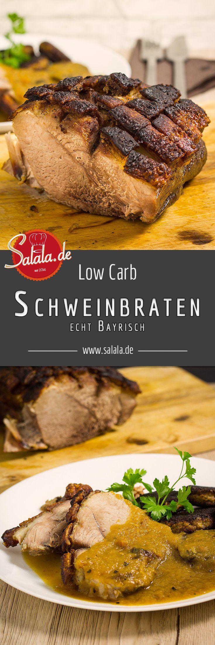 Echter bayrischer Schweinebraten oder Krustenbraten, so wie wir ihn hier lieben. Knusprig, würzig und eine absolut himmlische Sauce! Und das mit nur 4 g Kohlenhydraten pro Portion. Absolut Low Carb und ketogen. - salala.de