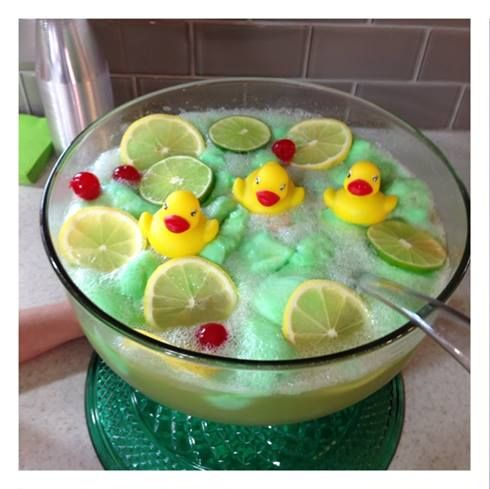 Green lime sherbet punch for a gender reveal or boy baby shower idea! Rubber duckies #Lime punch recipe | http://www.sassydealz.com/2014/01/green-lime-sherbet-punch-recipe-rubber.html