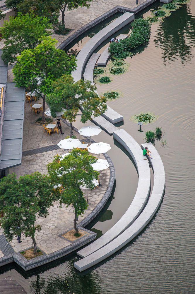 Public park along the Zhangjiagang River, Suzhou, Jiangsu, China by Botao Landscape. Click image for link to full profile and visit the slowottawa.ca boards >> http://www.pinterest.com/slowottawa/boards/