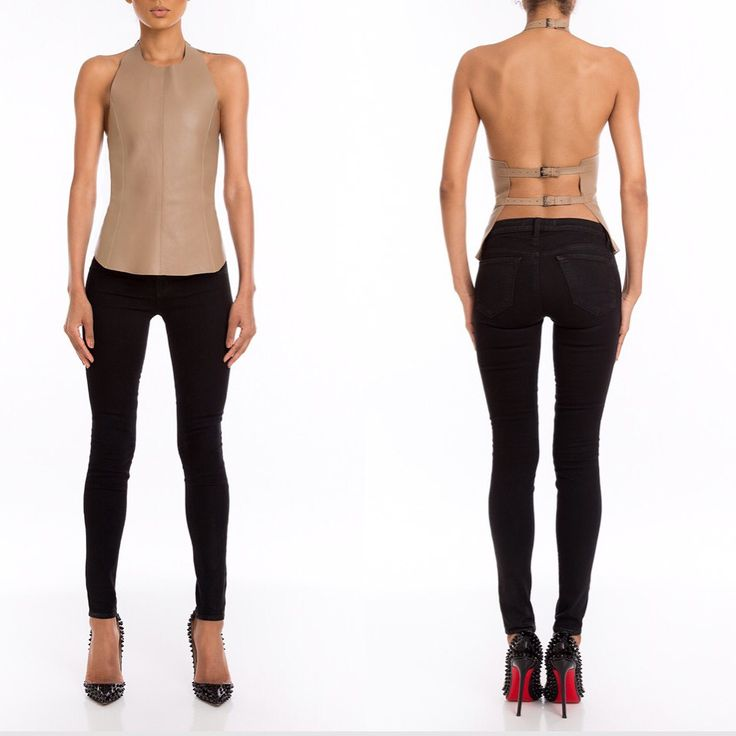 #Manokhi nude leather top with open back,available online now on www.manokhi.com