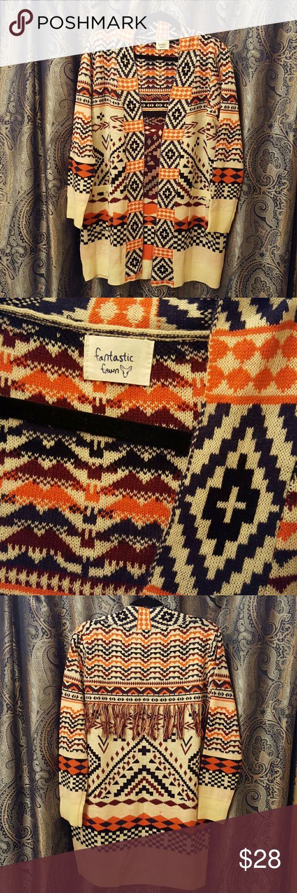 Beautiful Fantastic Fawn Aztec print cardigan Aztec print  oversized cardigan. Cream background with orange, black, maroon print. 100% Acrylic New without tags. Never worn. Fantastic Fawn Sweaters Cardigans
