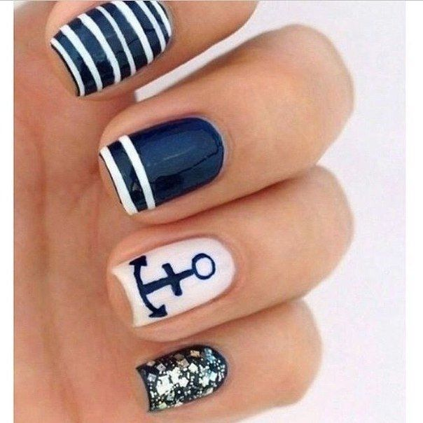 Anchor nails, Dark blue nails, Glitter nails, Marine nails, Nail art stripes, ring finger nails, Sea nails, Shellac nails 2016