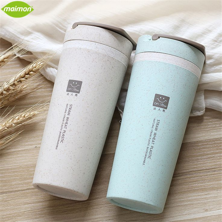 1pcs 450ml Biodegradable Wheat Straw Water Bottle Double-layer Heat Insulation Cup Leak Proof Hiking Tour Outdoor Drinkware