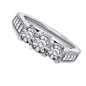 3Ct D/VVS1 Three-Stone Engagement Ring In Solid 10K White Gold Bridal Jewelry by JewelryHub on Opensky