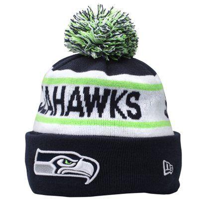 Mens Seattle Seahawks New Era College Navy Biggest Fan Redux Knit Beanie