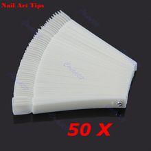 Venda quente 50x Fan-shaped Natural Falso Nail Art Tips Varas Exibição Polonês Ferramentas de Exibição Frete Grátis alishoppbrasil