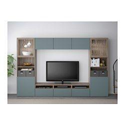 IKEA - BESTÅ, Combinaison rangt TV/vitrines, Lappviken/Sindvik mot noyer teinté gris verre transp, glissière tiroir, fermeture silence, , Les tiroirs et les portes se referment doucement en silence grâce à la fonction intégrée de fermeture en douceur.Cette combinaison de rangement avec TV comporte beaucoup de rangement et vous permet de ranger facilement le salon.Vous pouvez facilement dissimuler les câbles de la TV et tout autre équipement mais en les gardant à portée de main grâce aux…