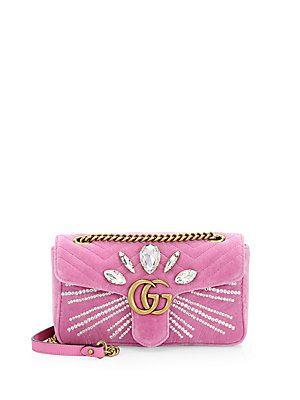 03270bd679a Gucci Marmont Crystal-Embellished Velvet Clutch