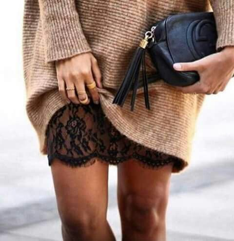 """Add a long, lace slip under your sweater dress for an added detail """"peek"""" as you walk. Let DailyDressMe help you find the perfect outfit for whatever the weather! dailydressme.com/"""