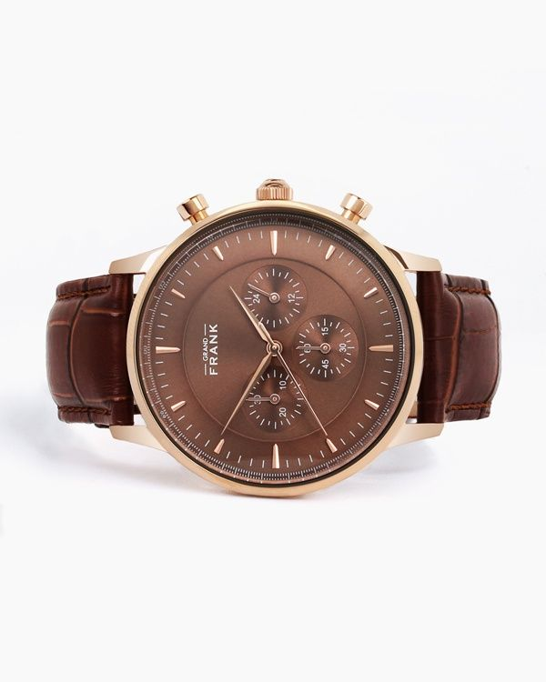 Kingston brown leather watch front