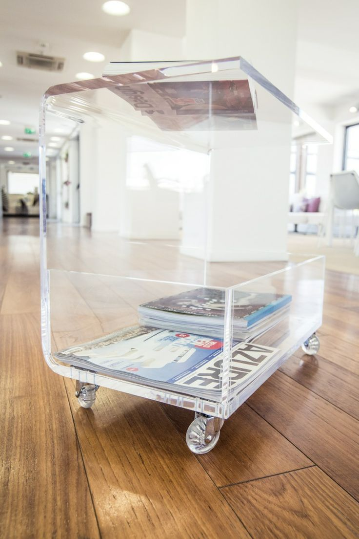 Clear Acrylic Side Table With Magazine Rack.
