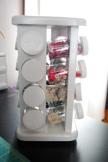 Spice rack becomes button rack. perfect for craft organizing...