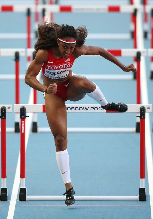Brianna Rollins of the United States competes in the Women's 100 metres hurdles semi finals during Day Eight of the 14th IAAF World Athletics Championships Moscow 2013 at Luzhniki Stadium on August 17, 2013 in Moscow, Russia. (Photo by Christian Petersen/Getty Images)