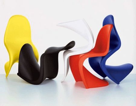colorful panton chairs, contemporary plastic chairs