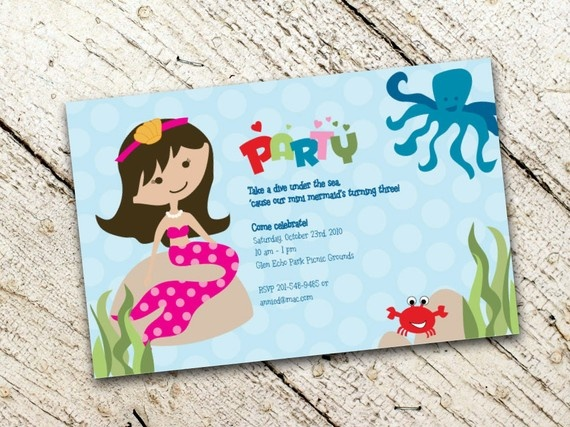Twosided Under the Sea Mermaid Party Invitation by ushiebaby, $18.00