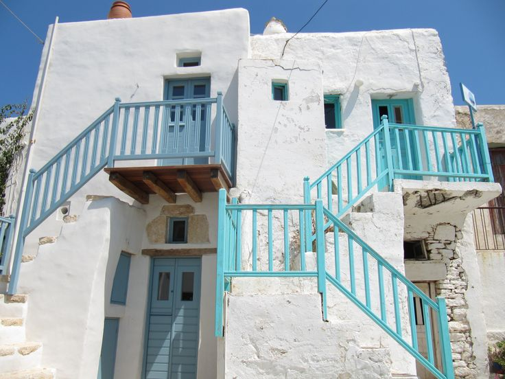 I love these houses with the colourful stairs in Folegandros, Greece
