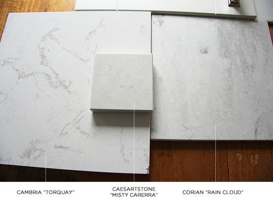 From left to right cambria torquay caesarstone misty for Corian competitors