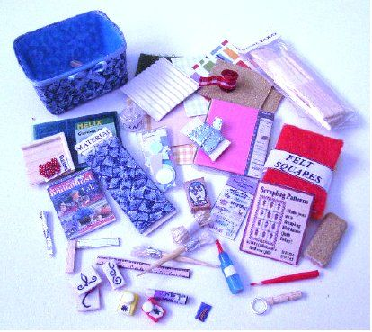Craft Basket and contents follow link to download pdf - some great ideas here