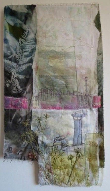 Bridges Reflection by Cas Holmes Apart/ Together/ Line/ Stitch/ Textile/ Fabric/ Layer/ draw