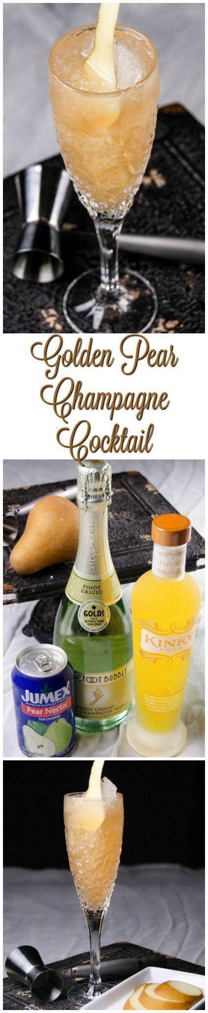 Golden Pear Champagne Cocktail - This cocktail is perfect for your next get together or for your New Year's Eve party!