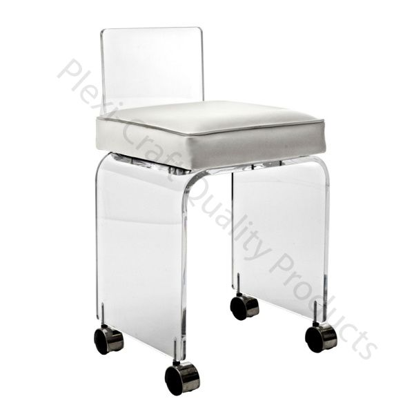 The lucite small vanity stool w wheels is perfect paired with a vanity or desk plexi craft - Vanity stool with wheels ...