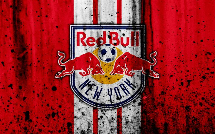 Download wallpapers 4k, FC New York Red Bulls, grunge, MLS, art, Eastern Conference, football club, USA, New York Red Bulls, soccer, stone texture, NY Red Bulls, logo, New York Red Bulls FC