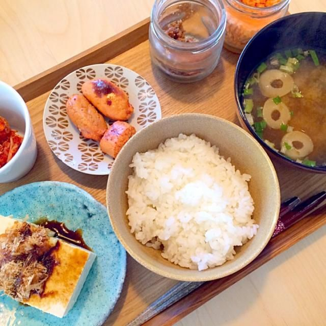朝ごはんみたいな昼ごはん - 10件のもぐもぐ - たらこ、豆腐、キムチなど by hanaruya9041
