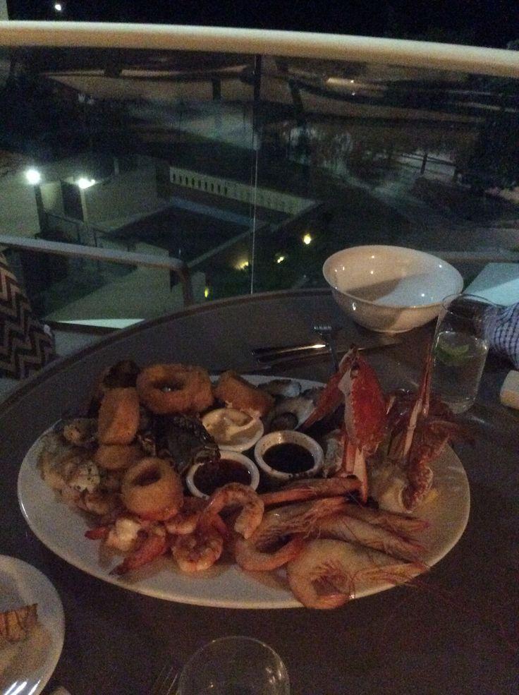 Tingirana Noosa Balcony, room 302 Penthouse.  Food from the Italian restaurant a few doors up on Hastings Street, seafood Platter-