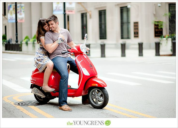 Chicago engagement session, Chicago potraits, downtown Chicago engagement session, Vespa engagement session, portrait session with a scooter...