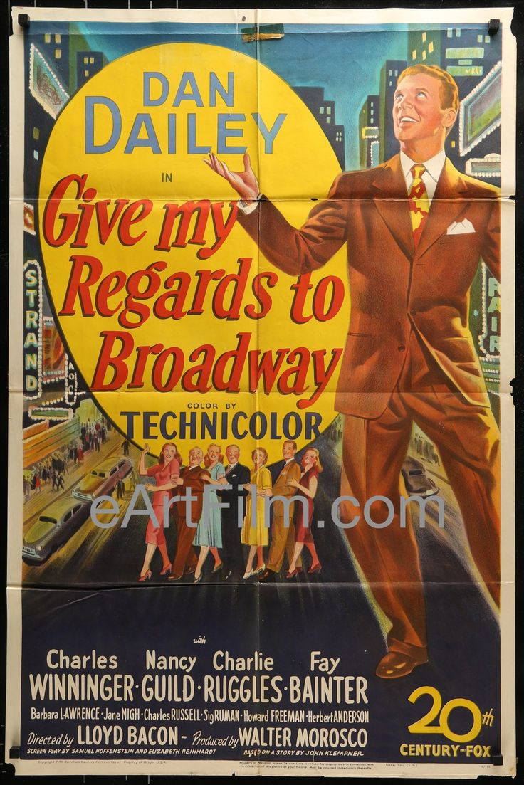 Happy #NationalDayOfGiving https://eartfilm.com/search?q=give #DayOfGiving #Giving #Give #GiveBack #charity #philanthropy #GivingTuesday #movie #movies #poster #posters #film #cinema #movieposter #movieposters    Give My Regards To Broadway-Dan Dailey-Nancy Guild-1948-Stone Litho-27x41