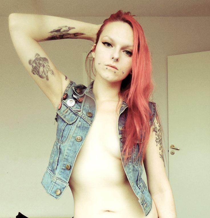 Piercing, tattoo, Make up, redhead, seminude, semi nude, vest, jeans, pins