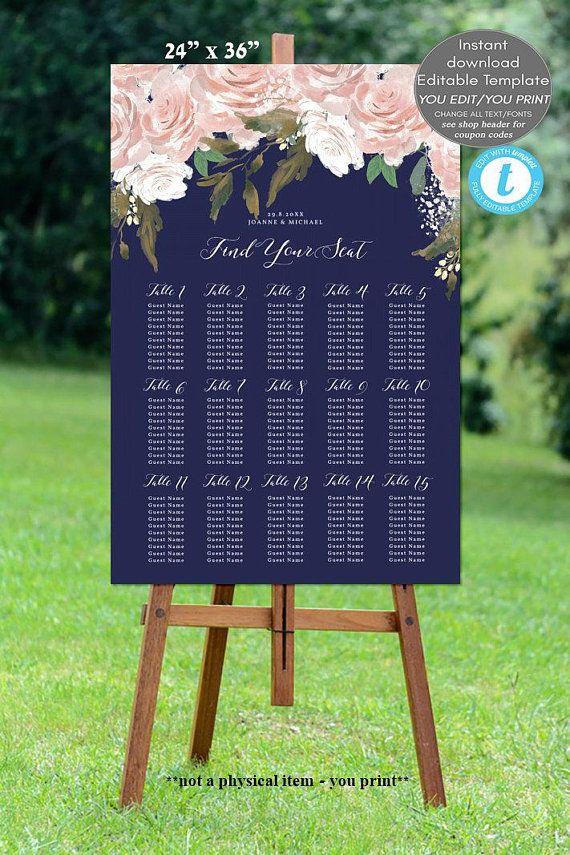 Editable Wedding Seating Chart Template Navy Plan